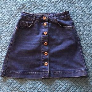 Topshop Button Front Denim A Line Mini Skirt